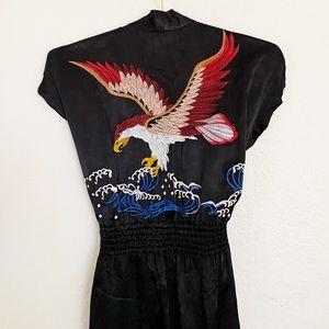 LANEUS Black Eagle Embroidery Robe Dress Sz S